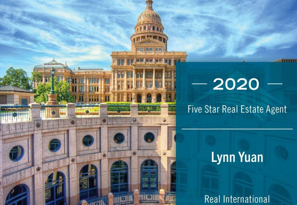 Congratulations to Lynn Yuan on winning the Five Star Real Estate Agent award in 2020